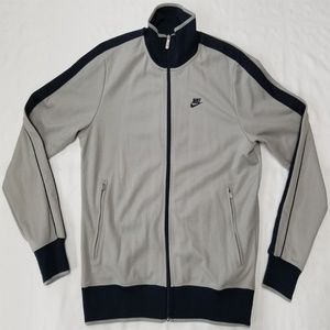 Nike full-zip track jacket men size M gray/navy